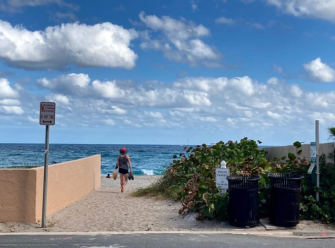 At the end of Root Trail in the Town of Palm Beach is a disputed beach entrance that has been used by the public for decades, but may actually be owned by private entities. Photo courtesy Eddie Ritz