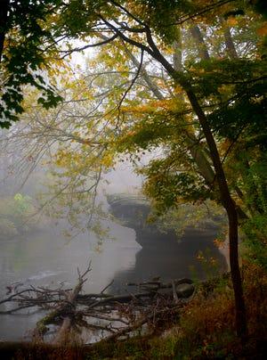 Thursday, October 22. Morning fog in Kent. Standing Rock in Cuyahoga river.