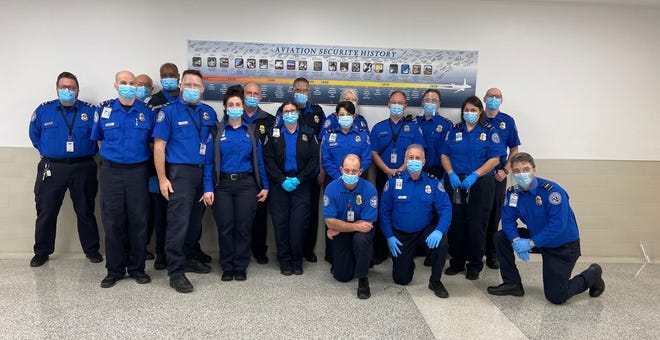 Members of the TSA crew at Akron-Canton Airport received the agency's 2020 Airport of the Year award. (Photo courtesy Akron-Canton Airport)