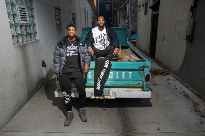 Jawan Loupe, left, co-owner of OTHXR, a lifestyle clothing brand, Jerome Cosby, owner of Lanor, a luxury design outlet, and Trey Campbell, owner of Organized Crime, not pictured, make up the three brand members of Messhall Studio. The group will be participating in a pop-up shop at Rockford Art Deli on Saturday.
