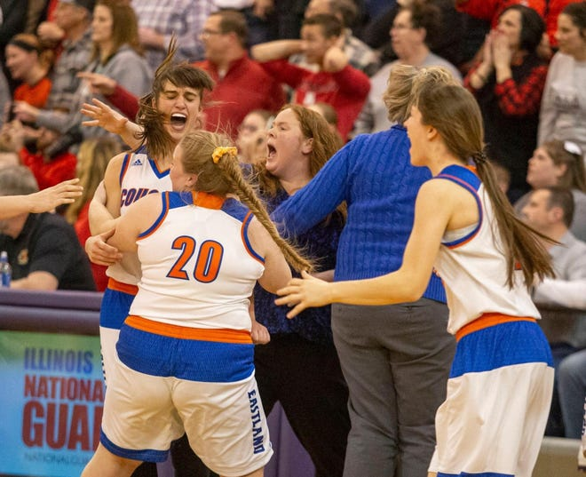 Eastland's girls celebrate after knocking off Amboy 59-58 in last year's Class 1A sectional finals at Pecatonica. Girls basketball, and the rest of IHSA sports, are still on hold as the Illinois Department of Public Health has yet to grant permission to start.