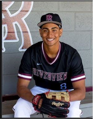 Riverview High senior Jakobi Davis batted .333 for the Rams last season with a team-high 7 RBI. COVID-19 limited the Rams to eight games. Courtesy photo