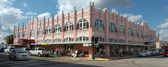 This ornate building, which houses restaurants and antique shops, is part of the unique downtown fabric of Arcadia, Fla., which celebrated its 125th anniversary as a city in December. The town, now county seat of DeSoto County, was founded Dec. 6, 1886. Many buildings and houses from the late 19th and early 20th centuries still stand, and the downtown area along Oak Street is known as one of the state's best venues for antiques shopping. This building, when new, was known as Rosin Arcade. In the late 1940s, it became the Koch Building. Photo / Harold Bubil; 12-17-2011l.