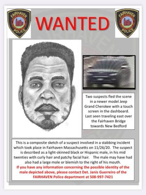 Sketch of stabbing suspect wanted by Fairhaven Police