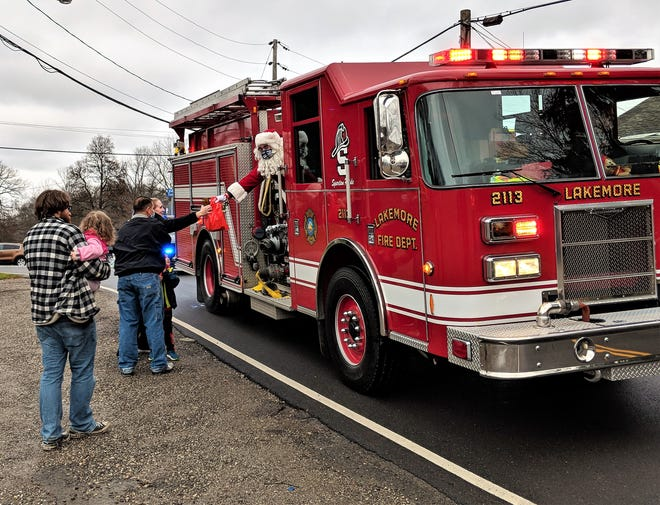Santa received a ride from the Lakemore Fire Department during his visit to the village on Dec. 13.