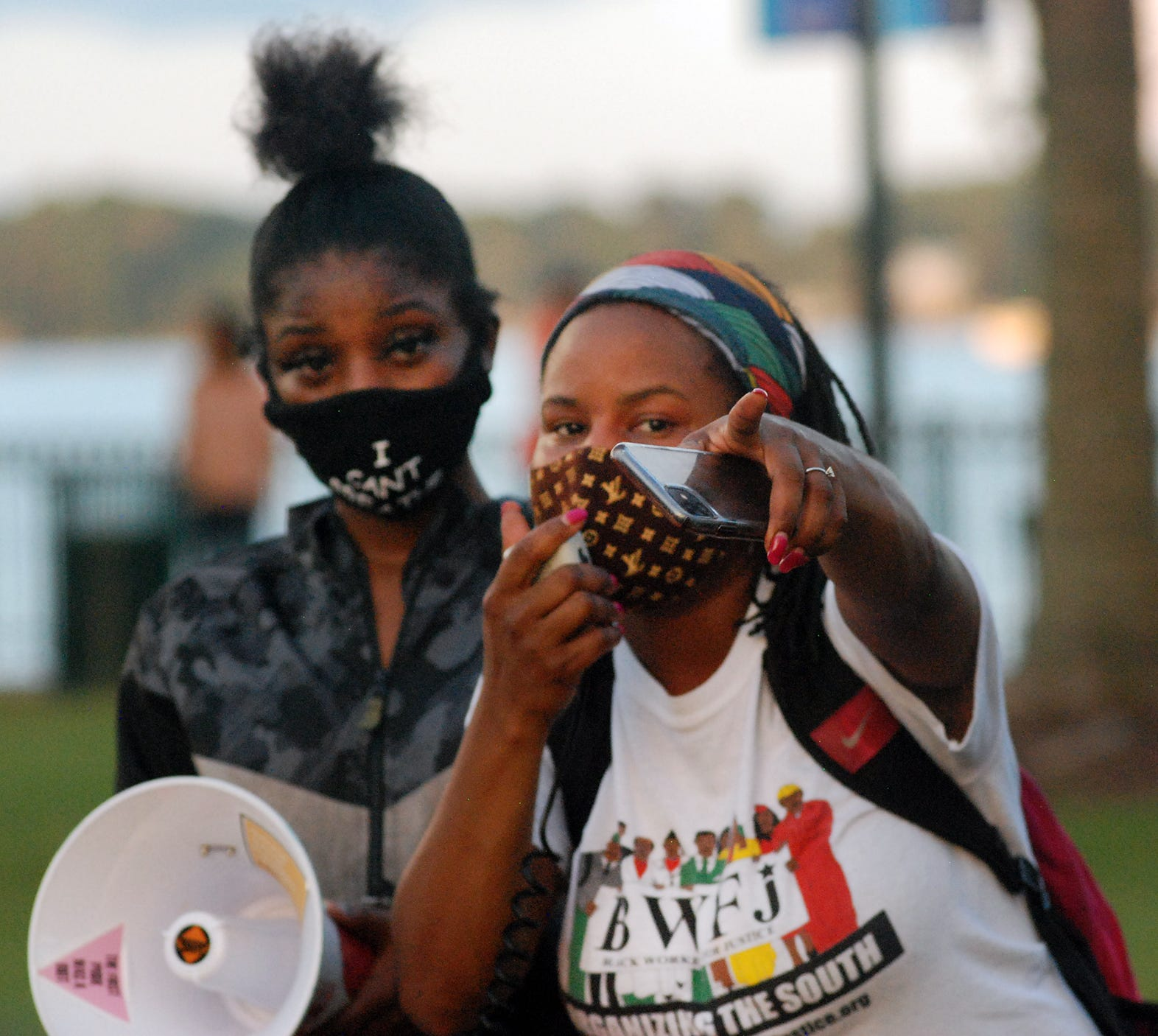Antoinette Boskey-Chadwick speaks during a Black Lives Matter rally in New Bern.