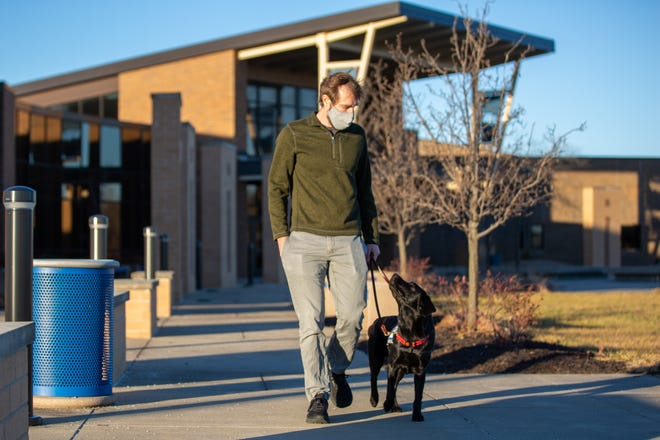There's a new pup on the campus helping students and staff of Washburn Rural by the name of Pistachio. On Tuesday morning, owner Matt Swedlund, the school's social worker, takes her on a walk outside showing her off.
