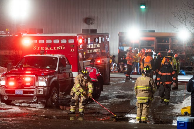 Hazmat crews were still on scene around 5 p.m. cleaning up a nitric acid spill that occurred from a truck at Rafferty Aluminum & Steel on Tuesday morning in Sterling.