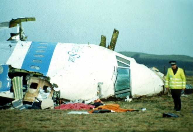The wreckage of Pan Am Flight 103, which was destroyed by an explosive and the remains landed in and around Lockerbie, Scotland, on Dec. 21, 1988, Nicole Boulanger of Shrewsbury, a student at Syracuse University, was among the 270 people who perished in the crash.