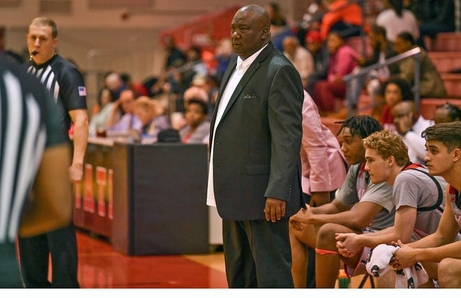 Gadsden State men's basketball coach Deddric Tarver looks on during a game during the 2019-20 season.