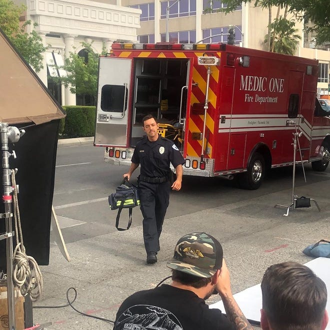 Michael Benzaia, 34, a Pine Bush '04 graduate, on a film set in a role as a paramedic. Since May, he has worked as a COVID safety officer monitoring actors and crew for federal, state and local guidance compliance.