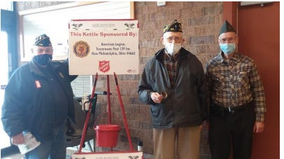 New Philadelphia American Legion Post 139 members rang the hand bells and greeted customers from 10 a.m. to 8 p.m. Dec. 19 at the New Philadelphia Buehler's Fresh Foods store. Pictured, from left to right: Cmdr. Ron Crabtree, Aaron Funk, Jr. and Howard Wise.