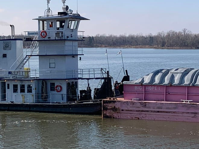 BIG HOPE 1 makes its way up the Arkansas River recently near the Port of Van Buren. The Ceres Barge Line barge was launched in May 2012 to fund cancer awareness research.
