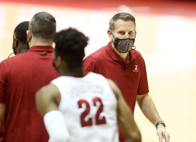 Alabama Head Coach Nate Oats looks to his bench as he coaches against East Tennessee State in Coleman Coliseum Tuesday, Dec. 22, 2020. [Staff Photo/Gary Cosby Jr.]