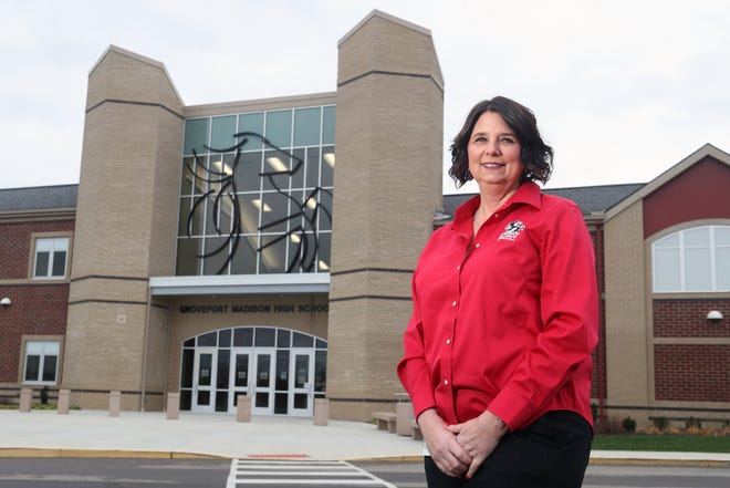Groveport Madison Superintendent Garilee Ogden stands outside the high school Dec. 22. Ogden said in addition to wanting to get students back in the classroom full time, the district also is working to implement the Ohio Department of Education's Whole Child Framework.