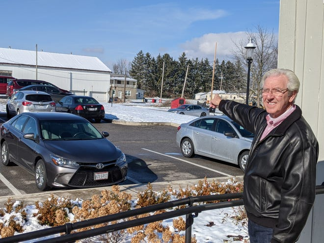 """Grove City Mayor Richard """"Ike"""" Stage stands along Columbus Street, where an extension will be built in 2021 to connect Town Center to the Beulah Park Living development."""