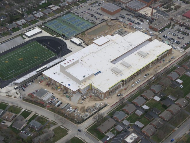 An aerial shot provides an overhead look at the new Upper Arlington High School building under construction. The project is one of the final pieces of the district's $235-million effort to build and renovate the high school and five elementary buildings. It is expected to be open by the start of the 2021-22 school year.