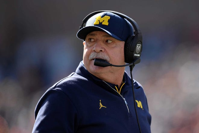 Michigan defensive coordinator Don Brown looks on during the game against Illinois, Oct. 12, 2019 in Champaign, Ill.