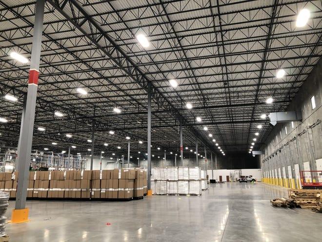 Inside the warehouse at EFP's Evansville location in the Vanderburgh Industrial Park on Indiana 57 in northeastern Vanderburgh Countu.