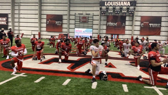 Lafayette Mayor-President Josh Guillory declared the Ragin' Cajuns football team the 2020 Sun Belt Conference champions at the University of Louisiana at Lafayette sports complex Wednesday, Dec. 23, 2020.