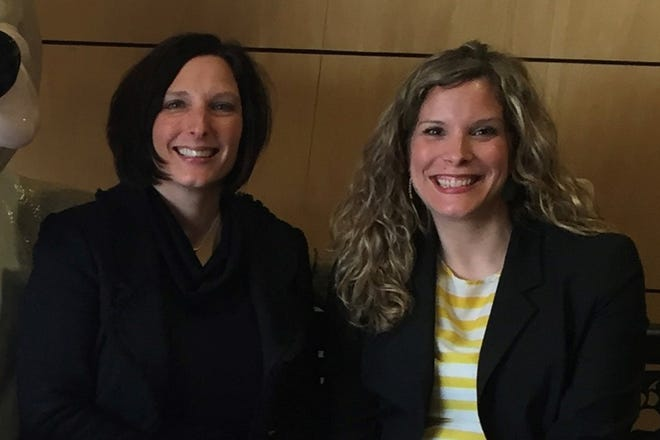 April Clobes [L] and Sara Dolan [R] combine on leadership gift to McLaren Greater Lansing Foundation's Campaign for Care.