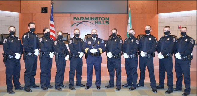 Farmington Hills swore in 10 new police officers in December 2020.