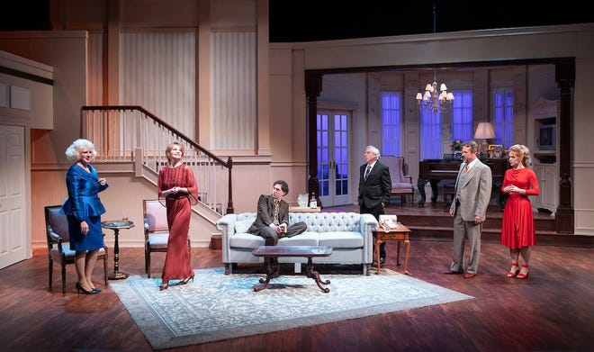 "Valerie Stanford, Martha Hackett, Josh Odsess-Rubin, Robert Dorfman, Michael Matthys and Sara Dabney Tisdale perform in CVRep's production of ""City of Conversation."""