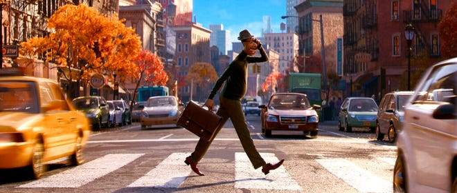 "Joe Gardner, voiced by  Jamie Foxx, in a scene from the animated film ""Soul."" The movie premieres Friday on Disney+."