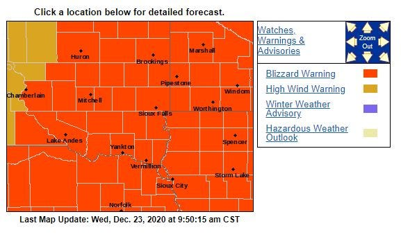 Blizzard warnings as of 10 a.m. Dec. 23.