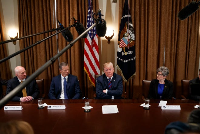 President Donald Trump is seen next to South Dakota Sen. John Thune in 2018.