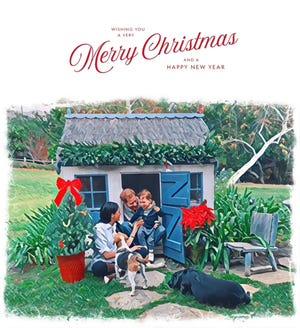 Le prince Harry et la duchesse Meghan de Sussex jouent avec leur fils Archie et leurs chiens dans leur image de carte de Noël 2020.