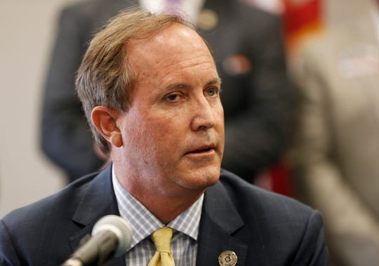 Texas Attorney General Ken Paxton speaks at the Austin Police Association on September 10, 2020.