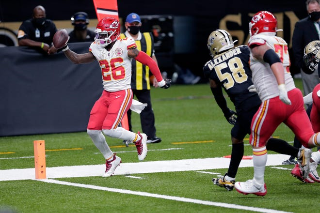 Kansas City running back Le'Veon Bell, crossing the goal line at New Orleans last Sunday, is in a prime spot to contribute to a fantasy football championship, filling in for an injured Clyde Edwards-Helaire.