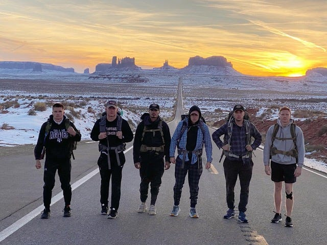 Members of Company H-1 in the Texas A&M Corps of Cadets Taylor Elliott, Ethan Lochner, Zachary Cross, Colton Kennedy, Wyatt Vance, and Bryce Buchanan participate in the 2020 ruck march from Zion National Park in Uta to Pagosa Springs, Colorado. Kennedy, from Watkinsville, is the second from right.