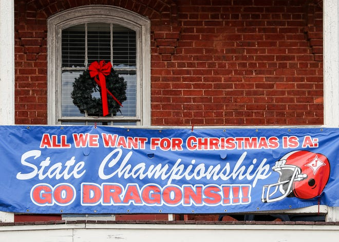 A Jefferson High School football banner hangs in downtown Jefferson, Ga., on Wednesday, Dec. 23, 2020. (Photo/Chamberlain Smith for the Athens Banner-Herald)