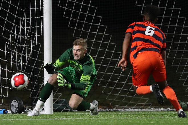 Boston College goalie Christian Garner, of Orleans, says internal competition at the school means he has always had to battle his teammates for goalkeepers' coach Vasili Uspensky's approval and a chance to battle the opposition. [Boston College Athletics]