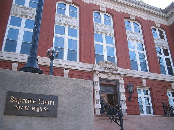 The Missouri Supreme Court building in Jefferson City.