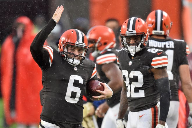 Browns quarterback Baker Mayfield is hard to miss on and off the field.