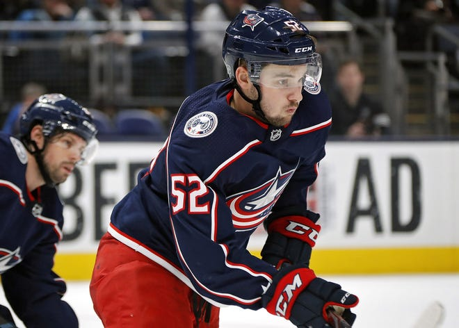 Columbus Blue Jackets center Emil Bemstrom (52) skates after the puck against Carolina Hurricanes during the 2nd period of their NHL game at Nationwide Arena in Columbus, Ohio on January 16, 2020. [Kyle Robertson/Dispatch]