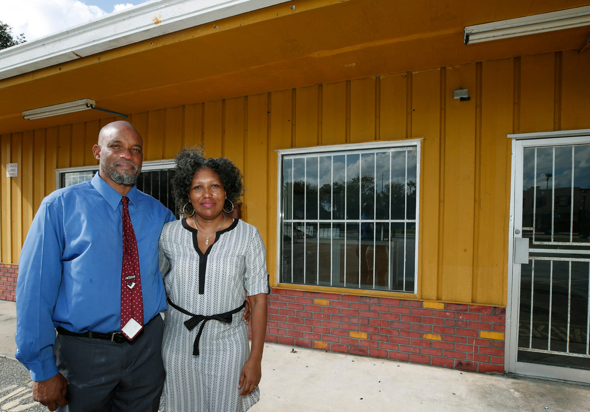 David Lucas and his wife Claudette are shown in front of their new restaurant, A Golden Taste of Jamaican Food & Treats, on Mary McLeod Bethune Boulevard in Daytona Beach.