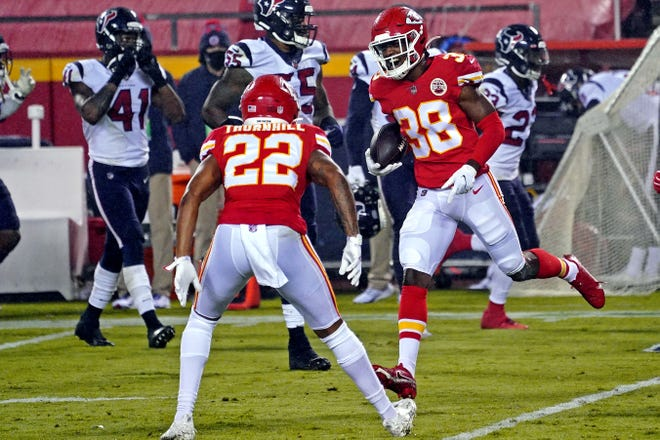 Kansas City cornerback L'Jarius Sneed (38) celebrates with teammate Juan Thornhill (22) after an interception in a game against Houston earlier this season. Sneed, a fourth-round draft pick, has been stellar as a rookie for the Chiefs