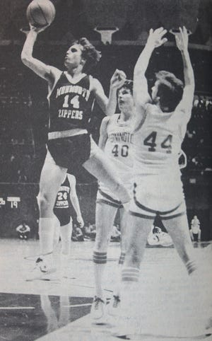 Mel Blasi glides to the basket against Stonington in the Monmouth Zippers' state quarterfinal game in 1982.