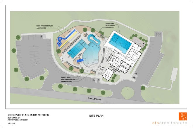 A rendering of the new aquatic center.