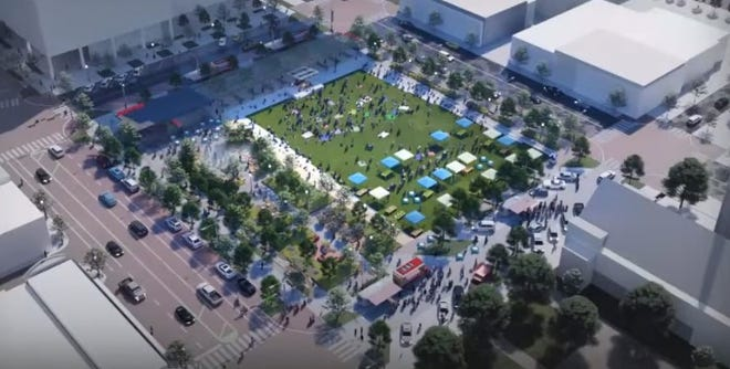 Early concepts of a potential downtown civic park in Lubbock