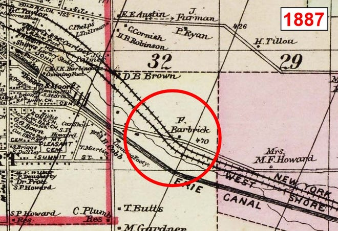 An 1887 map highlighting the dangerous railroad crossing.