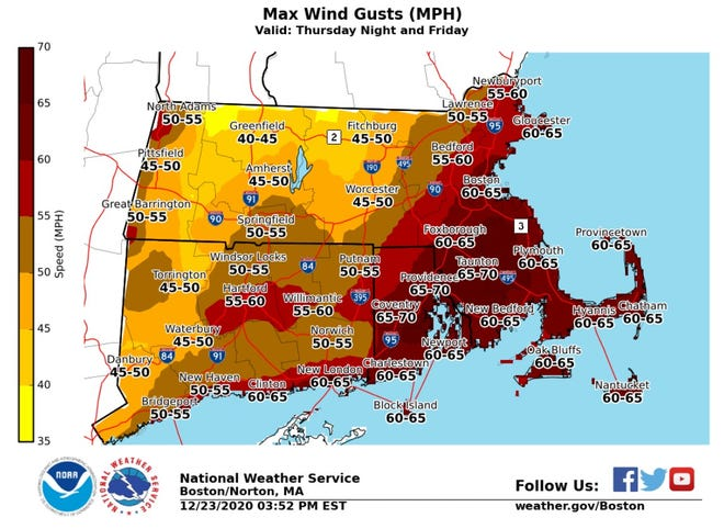 A powerful Christmas storm will deliver strong winds, heavy rain and probably widespread power outages to Southern New England.