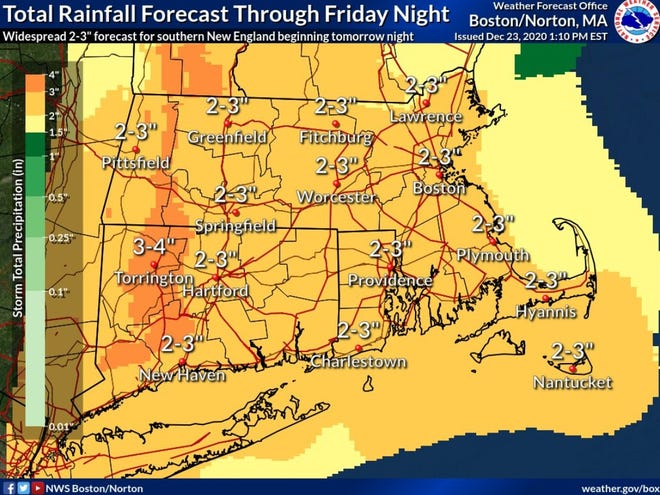 The storm will bring 2 to 3 inches of rain to the region.