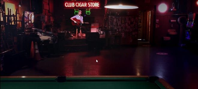 """A still from Cuchulain's video """"Been There,"""" filmed at empty Pacific Northwest venues like Luckey's Club in Eugene."""