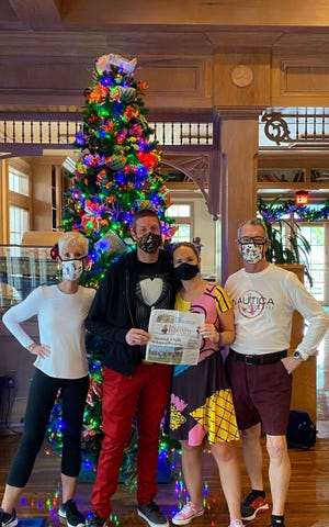 The Record is at Disney World's Old Key West Resort with Matthew Gilligan (Jack Skellington) and Erin Bauserman (Sally), Jacksonville, and Erika and David Bauserman, St. Augustine.