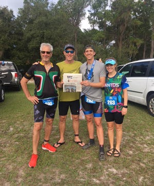 Three generations of the Widergren family rocked the Jacksonville Triathlon and all four placed in their division. From left, Bob Widergren, Todd Widergren, Nick Goff and Shelby Widergren Goff.